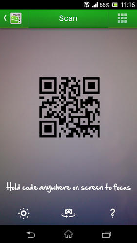 Capturas de tela do programa QR droid: Code scanner em celular ou tablete Android.