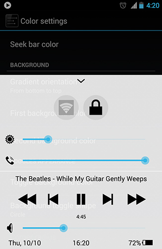 Screenshots of Quick control dock program for Android phone or tablet.