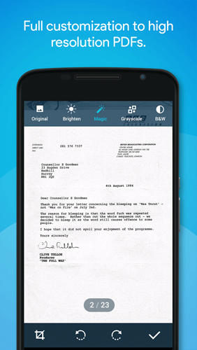 Screenshots of Quick Scanner PDF program for Android phone or tablet.