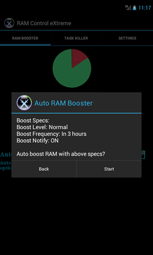 Screenshots of RAM: Control eXtreme program for Android phone or tablet.