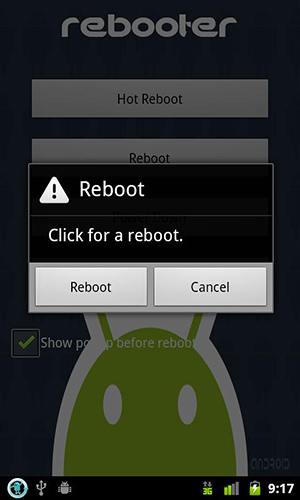 Screenshots of Rebooter program for Android phone or tablet.