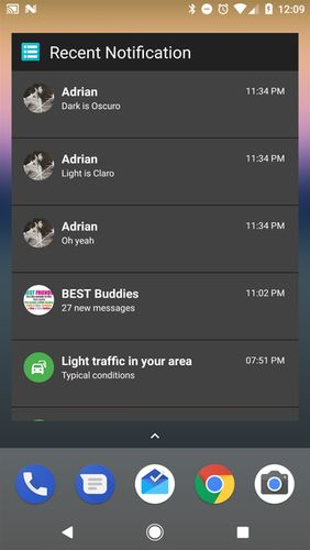 Screenshots of Recent notification program for Android phone or tablet.