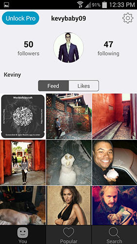 Screenshots of Repost for Instagram program for Android phone or tablet.