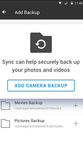 Screenshots of Resilio sync program for Android phone or tablet.