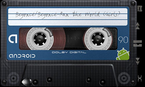 Screenshots of Retro tape deck music player program for Android phone or tablet.