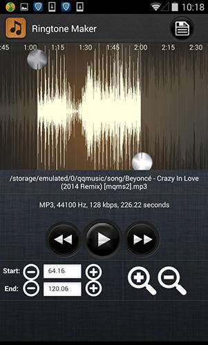 Screenshots of Ringtone maker mp3 cutter program for Android phone or tablet.