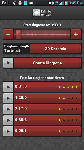 Les captures d'écran du programme Ringtone maker pour le portable ou la tablette Android.