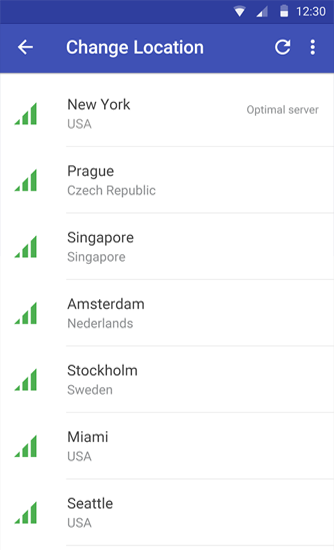 Screenshots des Programms Rocket VPN: Internet Freedom für Android-Smartphones oder Tablets.