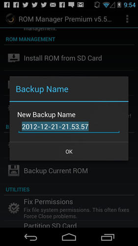 Screenshots of ROM manager program for Android phone or tablet.