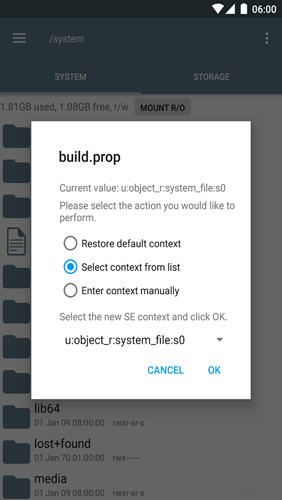 Screenshots des Programms Root Explorer für Android-Smartphones oder Tablets.