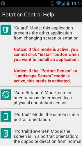 Screenshots of Rotation control program for Android phone or tablet.