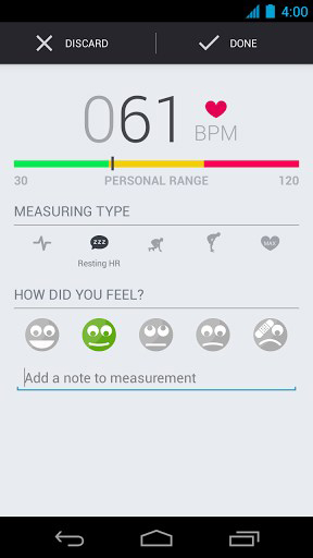 Capturas de pantalla del programa Runtastic heart rate para teléfono o tableta Android.