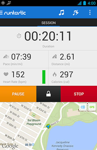 Capturas de tela do programa Runtastic pro GPS em celular ou tablete Android.