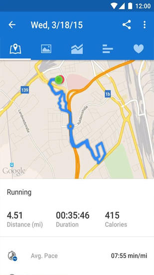 Capturas de tela do programa Runtastic: Running and Fitness em celular ou tablete Android.