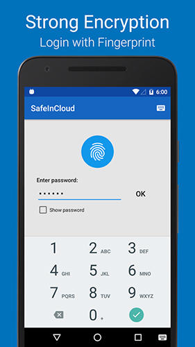 Screenshots of Safe in cloud password manager program for Android phone or tablet.