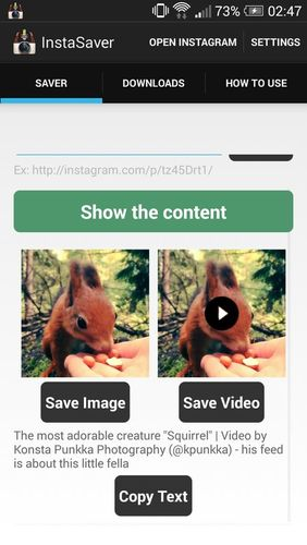 Capturas de pantalla del programa Saver reposter for Instagram para teléfono o tableta Android.