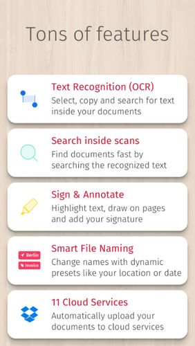 Screenshots of Scanbot - PDF document scanner program for Android phone or tablet.