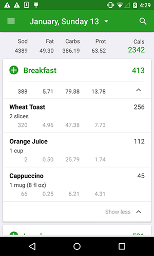Calorie counter app for Android, download programs for phones and tablets for free.