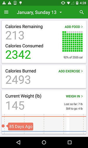 Les captures d'écran du programme Calorie counter pour le portable ou la tablette Android.