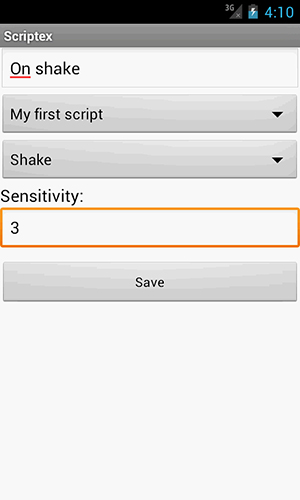 Screenshots of Scriptex program for Android phone or tablet.