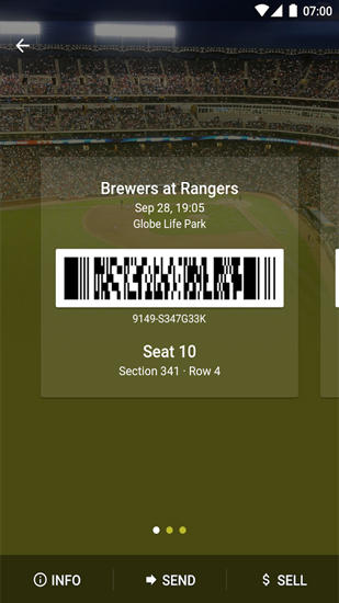 Capturas de tela do programa SeatGeek: Event Tickets em celular ou tablete Android.