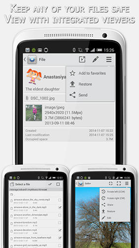 Screenshots des Programms Safe + für Android-Smartphones oder Tablets.