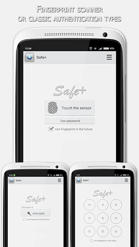 Capturas de tela do programa Safe + em celular ou tablete Android.
