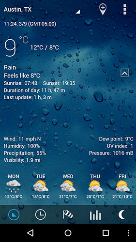 Capturas de pantalla del programa Sense v2 flip clock and weather para teléfono o tableta Android.
