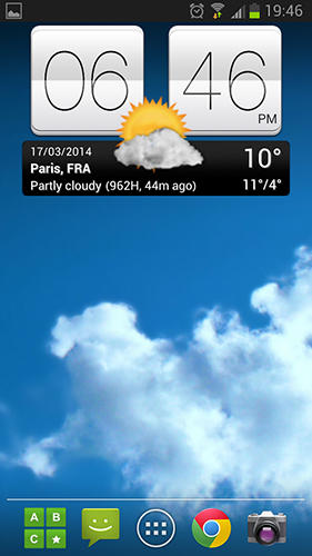 Screenshots of Sense v2 flip clock and weather program for Android phone or tablet.