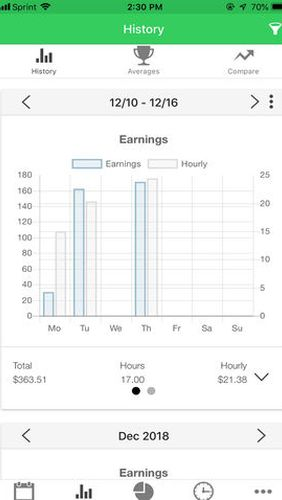 Screenshots of ServerLife - Tip tracker program for Android phone or tablet.