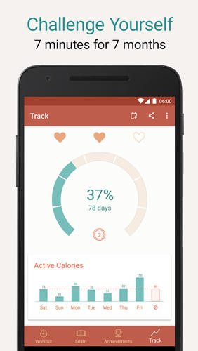 Les captures d'écran du programme Seven: Workout pour le portable ou la tablette Android.