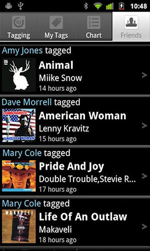 Screenshots of Shazam program for Android phone or tablet.