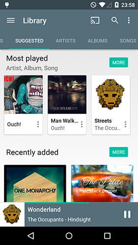 Screenshots of Shuttle+ music player program for Android phone or tablet.