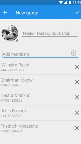 Screenshots of Signal private messenger program for Android phone or tablet.