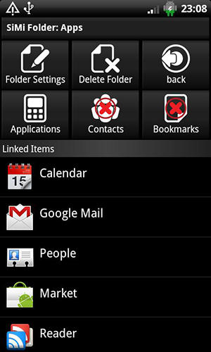 Screenshots des Programms SiMi folder widget für Android-Smartphones oder Tablets.