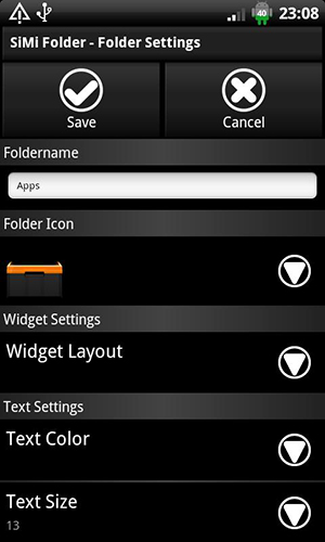 Screenshots of SiMi folder widget program for Android phone or tablet.