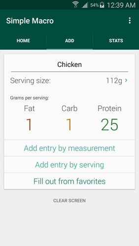 Capturas de tela do programa Simple macro - Calorie counter em celular ou tablete Android.