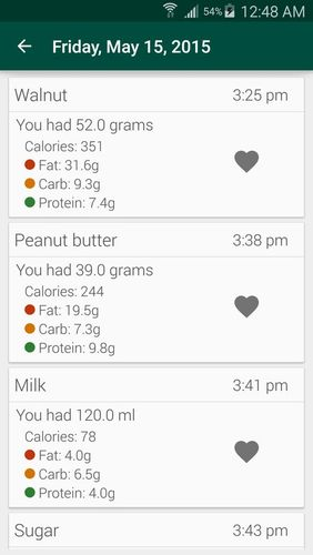 Screenshots of Simple macro - Calorie counter program for Android phone or tablet.