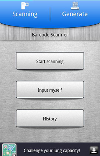 Screenshots of QR code: Barcode scanner program for Android phone or tablet.