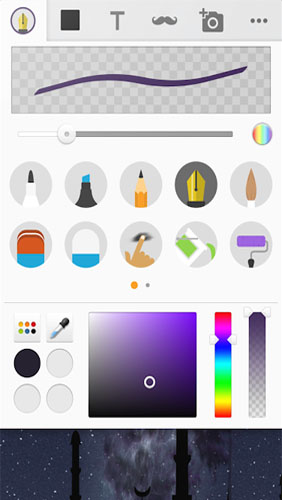 Screenshots des Programms Sketch: Draw and paint für Android-Smartphones oder Tablets.