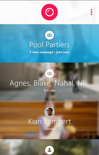 Screenshots of Skype qik program for Android phone or tablet.
