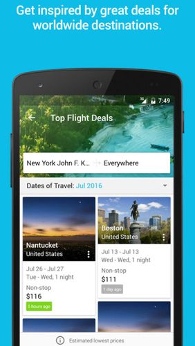 Screenshots of Skyscanner program for Android phone or tablet.