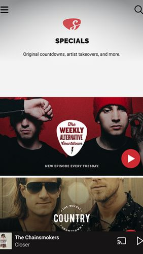 Screenshots of Slacker radio program for Android phone or tablet.