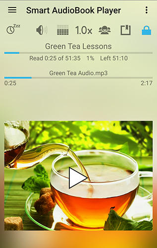 Screenshots des Programms Smart audioBook player für Android-Smartphones oder Tablets.