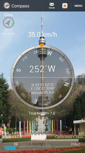 Screenshots des Programms Smart compass für Android-Smartphones oder Tablets.