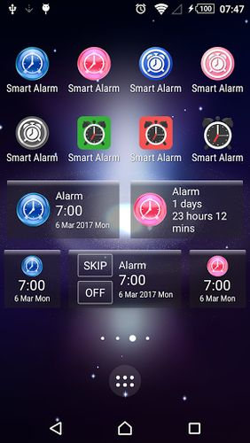 Screenshots of Smart alarm free program for Android phone or tablet.