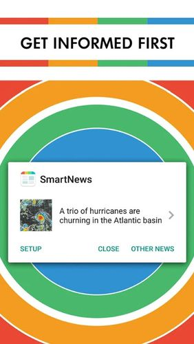 Capturas de tela do programa SmartNews: Breaking news headlines em celular ou tablete Android.