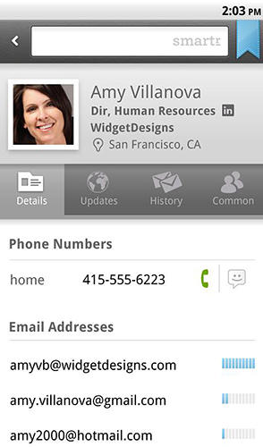 Screenshots of Smartr contacts program for Android phone or tablet.