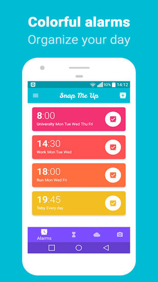 Snap Me Up: Selfie Alarm Clock app for Android, download programs for phones and tablets for free.