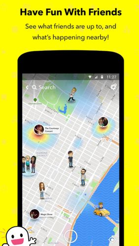Capturas de tela do programa Snapchat em celular ou tablete Android.